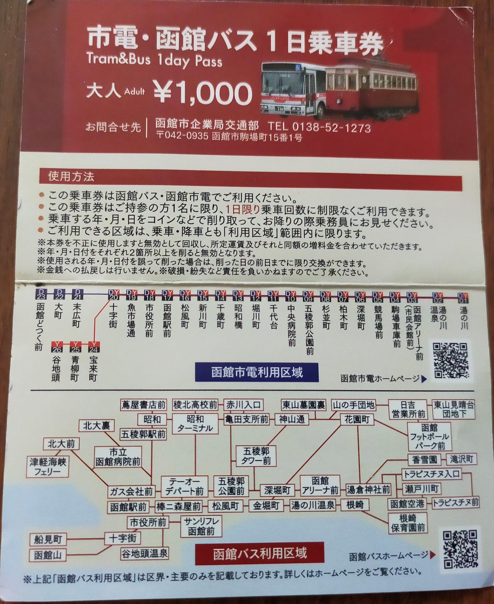市電・函館バス共通1日乗車券の画像
